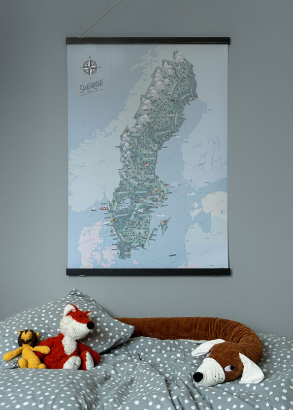 Sverigekartan - JoannaSchmidt - barnrum 70x100